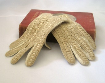 Vintage Hammer of Hollywood Leather and Crochet Gloves, Wrist Length, Costume Gloves, Women's Fashion Gloves, Driving Gloves