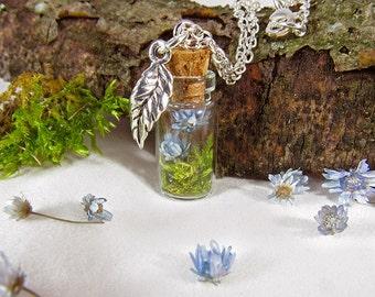 Terrarium necklace, real flower necklace, moss necklace, dried flower pendant, glass vial necklace