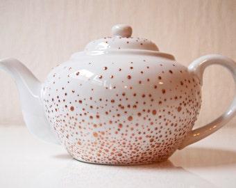 Large tea-pot made of real Limoges porcelain - gold dots
