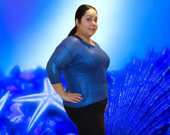 Hand Painted Metallic Blue Knit Sweater Plus 18 XXXL 3XL 3X Womens Junior Misses