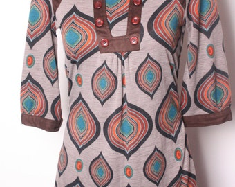 Vintage 1990s does 1970s Mini Tunic Dress in Psychedelic Pattern & Faux Suede Trim Size 8