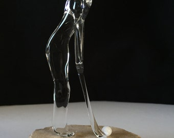 Handblown Glass Golfer (Father) Sculpture - Father's Day Gift