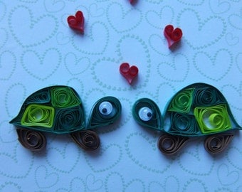 "Cute Little Quilled Tortoises with Hearts Valentines Card 5"" x 5"" Blank"