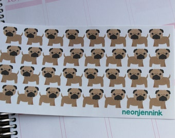 Fawn Pug Puppy Stickers
