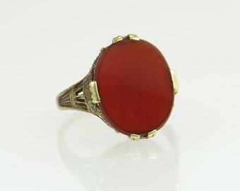 Antique Vintage Estate 14K Yellow Gold Flowers 4.00ct Carnelian Art Deco Ring 3.4g