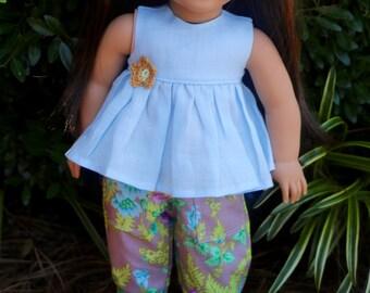 AG Doll Linen Shirt and Floral Capri Set