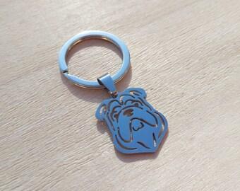 English bulldog keychain, stainless steel, silver