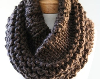 Chunky Knit Cowl, Oversized Cowl, Infinity Scarf, Knitted Snood, Brown Scarf, Handmade Knitted Scarf, Chunky Snood