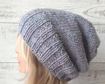 Knit hat slouchy knit hat womens hat wool knit hat slouchy knit hat knit beanie