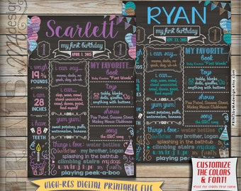 "First Birthday Poster, Baby's 1st Birthday Personalized Milestones Sign, Custom Stats 1st B-day Poster, 24x36"" Chalkboard Style Printable"