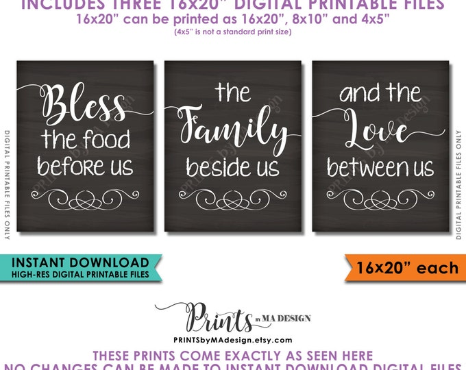 "Bless the Food Before Us The Family Beside Us the Love Between Us Kitchen Wall Decor Chalkboard Style PRINTABLE 16x20"" Instant Downloads"