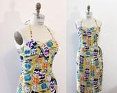 Sarong dress - Tiki - Rockabilly - Pinup - Vintage novelty fabric – Asian lanterns print - XL