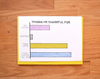 Funny thank you cards, thank you for best friend, best friend cards, funny thank you, friend card, bar graph thank you card,best friend card
