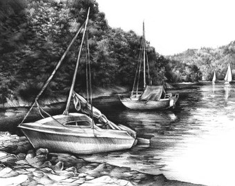 SALE yachts original charcoal drawing by Katarzyna Kmiecik / black and white, charcoal landscape, yacht sailing art, boat sketch, realistic