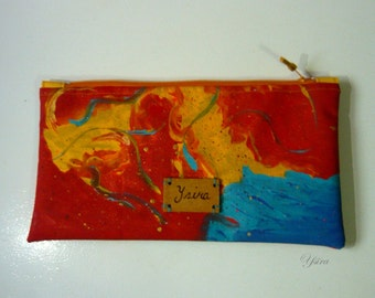 Colorful Hand-painted clutch purse