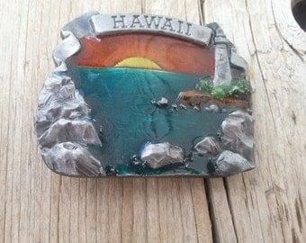 Hawaii 1978 Bergamot Brass Works Made in USA Beach Sunset Lighthouse Belt Buckle