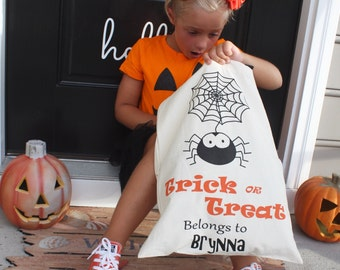 Personalized Halloween Trick or Treating Sack - halloween bag, trick or treating bag, candy tote, personalized tote, spider sack