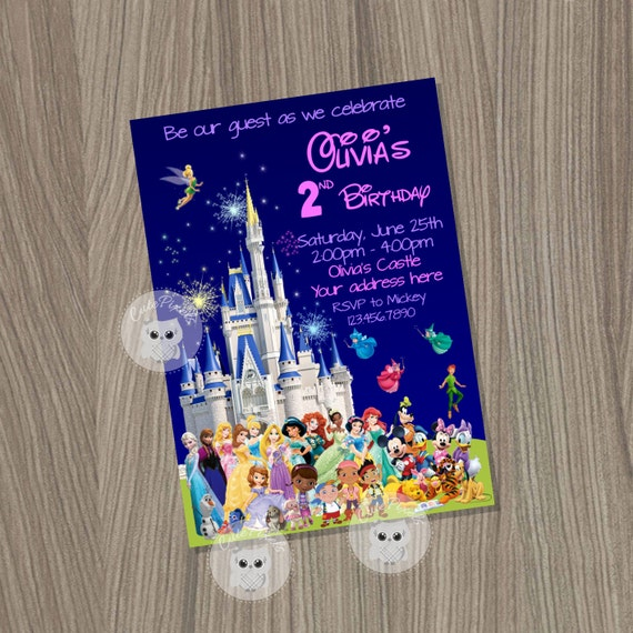 Disney Castle Invitation Disney Characters By CutePixels