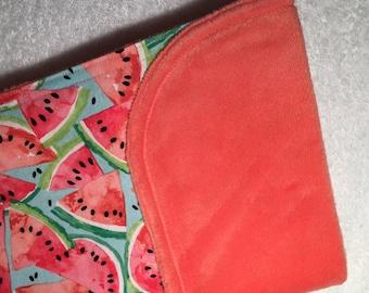 Watermelon Baby Blanket - Minky Baby Blanket - Pink Green Watermelon Bedding - Watermelon Minky Blanket - Baby Shower Gift - Watermelon Blan