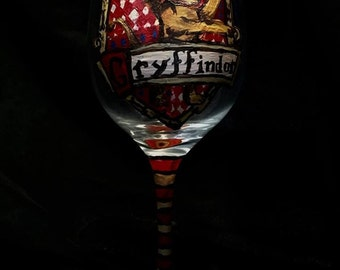 Hand Painted Gryffindor Wine Glass