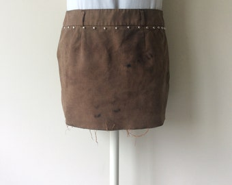 Reduced Price> Women's Bleached & Studded Post Apocalyptic Mini Skirt Wastelander Wasteland Skirt