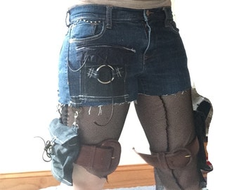 Women's Post Apocalyptic Shorts 2 Removable Pockets Wasteland Shorts Apocalyptic Drop Pockets Studded Shorts