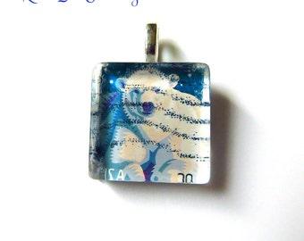 Polar Bear Pendant, U. S. Stamp, Glass Tile Pendant, Glass Tile Necklace, Glass Tile Jewelry, Stamp Pendant, Stamp Jewelry, Stamp Art
