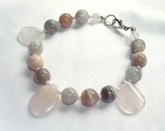 Rose quartz bracelet African opal bracelet Beaded bracelet Gemstones gift ideas Pink bracelet Boho bracelet Yoga bracelet Gemstone Bracelet