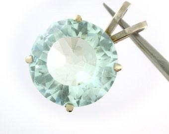 Hand cut Aquamarine 13.8ctm pendant. Light blue, clear through. 14k white gold finding