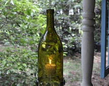 Large Hanging Etched Wine Bottle Candle with Votive and Jumbo Gemstones