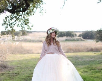 White Tulle Very Full Length Bridesmaid Wedding Gown Long Skirt