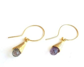 Fluorite Gold Plated Sterling Silver Conical Earrings - Earrings 313 & 314 of 365 for EAD2015
