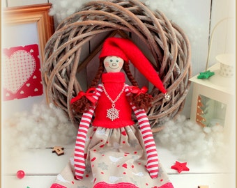 Christmas Elf cloth doll rag doll-gift , softie plush stuffed doll cute textile doll fabric doll decoration Gnome Ornament