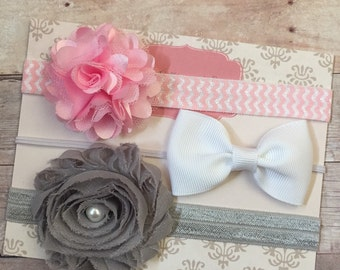 Baby Girl Headbands, Baby Headbands, Shabby Chic Headbands, Newborn Headbands, Pink, White, Gray headbands, Baby Shower Gift, grey
