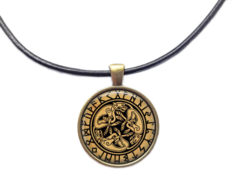 celtic dogs pendant occult jewelry rune necklace