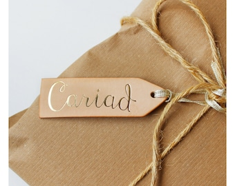 Tag Lledr 'Cariad' //  Welsh 'Love' Vegetable Tanned Leather tag.