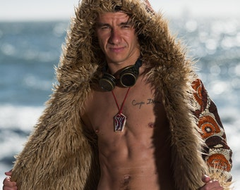 WARRIOR Burning man Fur Coat | Playa jacket | Festival outfit for Men | Festival costume | Boho Coat