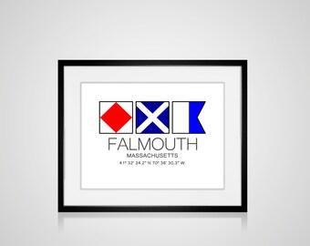 """FALMOUTH, Massachusetts Nautical Flag Art Print  Is 8"""" x 10"""" Or 11"""" x 14"""" Ocean Beach Cabin Lodge Coastal Decor Home"""