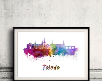 Toledo skyline in watercolor over white background with name of city - Poster Wall art Illustration Print - SKU 1894