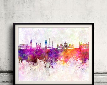 Lahore skyline in watercolor background - Poster Digital Wall art Illustration Print Art Decorative - SKU 1908