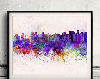 Chengdu skyline in watercolor background 8x10 in. to 12x16 in. Poster Digital Wall art Illustration Print Art Decorative - SKU 1310