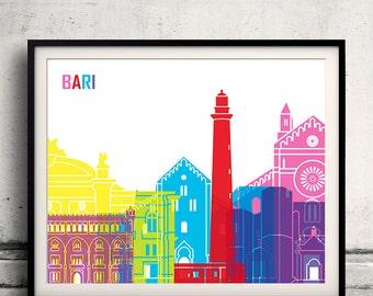 Bari skyline pop - Fine Art Print Glicee Poster Gift Illustration Pop Art Colorful Landmarks - SKU 1479