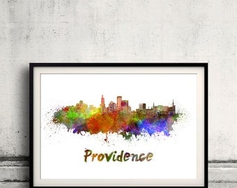 Providence skyline in watercolor over white background with name of city - Poster Wall art Illustration Print - SKU 1581