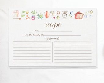 Watercolor Recipe Cards - Set of 15, 30, or 50 - Kitchen Cooking Theme - Watercolor Illustrations - 4x6 - High Quality Linen Cardstock