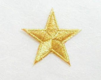 Gold Star Iron on Patch-Gold Star Applique Embroidered Iron on Patch -Size 4.4x4.4 cm