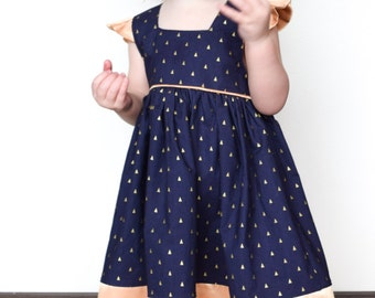 Gold and Navy Triangle Dress - 2T - Blue Dress - Gold Dress - Geometric Dress - Navy Dress - Toddler Dress