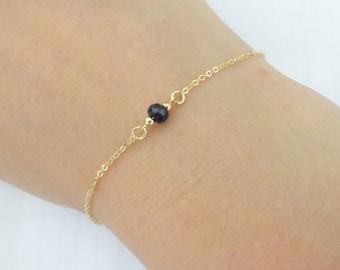 Dark blue Sapphire bracelet, Dainty everyday bracelet, September birthstone jewelry, Bridesmaid  Rose gold fill, Gold fill, Sterling silver