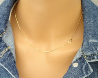 Simple sideway Gold Heart Necklace, Outlined heart necklace, 14K gold fill necklce, Layering Necklace, open Heart necklace LA340