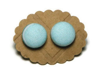 Mint green earrings, fabric button earrings, fabric earrings, small earrings, stud earrings, stainless steel earrings, round earrings