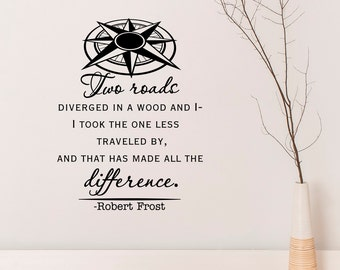 Road Less Traveled Robert Frost Wall Decal Quote, Travel Wall Decal Vinyl Lettering Words Adventure Wall Art Bedroom Living Room Decor Q142